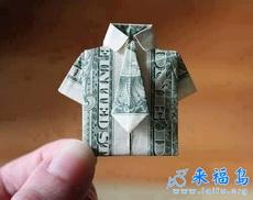 纸币折出一件衣服,还有领带哦
