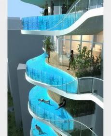 每一楼层都有一个游泳池