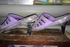 女屌丝自制的高跟鞋