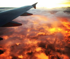 乘客拍到的火烧云