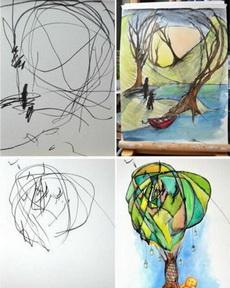 为了鼓励2岁的女儿画画,麻麻把她的涂鸦加工了一下