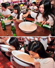 妹子很能喝啊