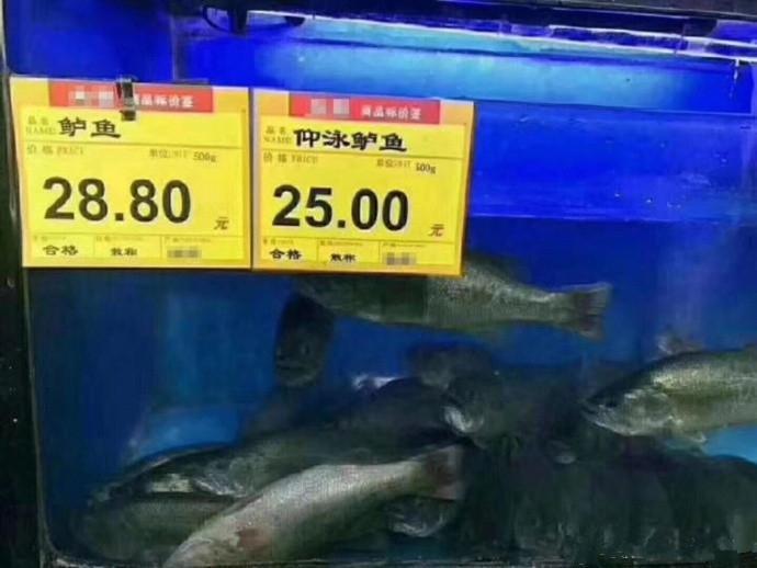 顾客:你当我傻子呢?给我来两条仰泳鲈鱼!